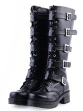 Lolitashow Gothic Black Lolita Boots Square Heels Platform Shoelace Straps Buckles