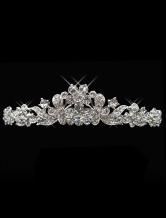 Flowers and Butterfly Silver Rhinestone Metal Bridal Tiara