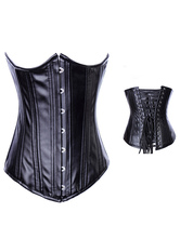 Lolitashow Lace-Up Front Button PU Steampunk Corsets