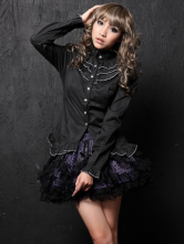 Lolitashow Black Long Sleeves Buttons Cotton Blend Lolita Blouse