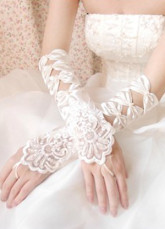 Ivory Cut Out Satin Bridal Wedding Gloves