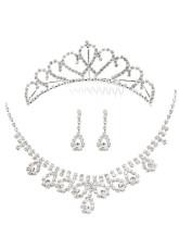 Rhinestone Pierced Drops Design Jewelry Set For Bridal