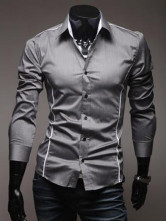 Deep Gray Cotton blend Fashion Casual Shirt