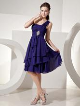 Vestito da damigella d'onore di chiffon violo scuro con monospalla A-linea al ginocchio