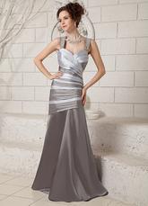 Vestidos de fiesta largos Vestido de noche de satén elástico de color plateado con escote de corazón