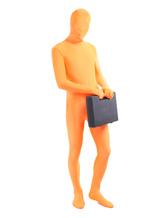 Disfraz Carnaval Zentai unisex de color naranja de elastano de marca LYCRA de estilo atractivo Halloween