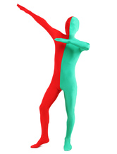 Anime Costumes AF-S2-206908 Red & Green Split Zentai Suit Halloween Lycra Spandex Full Bodysuit