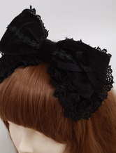 Lolitashow Black Cotton Lolita Headbow Lace Trim Lace Ribbon