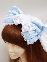 Lolitashow Blue Cotton Sweet Lolita Bow Headdress