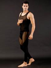 Sexy schwarzes Spandex Männer Unterhemd Set
