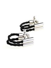 Cool Black Leather Woven Belt Men's Fashion Cufflinks