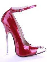Burgundy Patent Leather Rhinestone Sexy High Heels For Women