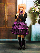 Lolitashow Attrezzatura Lolita gotica viola in cotone con maniche lunghe