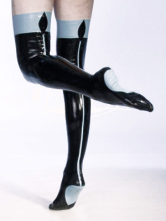 Anime Costumes AF-S2-230944 Halloween Unique Black Color Split Latex Women's Stockings