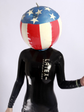Anime Costumes AF-S2-234748 Halloween Flag Pattern Latex Unisex Catsuits & Zentai Inflatable Hood