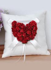 White Satin Red Flowers Wedding Ring Bearer Pillow