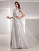 Abendkleider mit Bateau-Kragen Hochzeit A-Linie- Brautmutterkleider Netz Formelle Kleider Selber bodenlang natürliche Taillenlinie