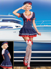 Anime Costumes AF-S2-242942 Women's Halloween Sailor Costumes Blue Lycra Spandex Ruffles Dress