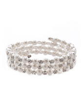 White Pearl Beaded Metal Chic Bracelet