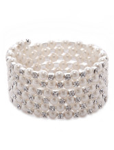 White Tiered Pearl Beaded Metal Chic Bracelet