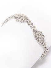 Chic Silver Rhinestone Bow Metal Wedding Bracelet