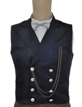 Vintage Steampunk Waistcoat Black Men's Double Breasted Pocket Watch Chain Back Strap Jacquard Retro Suit Vest Carnival