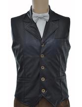 Anime Costumes AF-S2-244068 Vintage Steampunk Costume Waistcoat Black Men's Faux Leather Retro Suit Vest