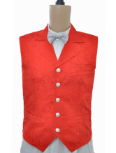Anime Costumes AF-S2-244082 Steampunk Vintage Costume Red Waistcoat Men's Back Strap Jacquard Retro Suit Vest