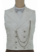 Anime Costumes AF-S2-244084 Vintage Steampunk Waistcoat White Men's Double Breasted Pocket Watch Chain Back Strap Retro Suit Vest