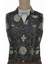 Anime Costumes AF-S2-244086 Vintage Steampunk Waistcoat Black Men's Double Breasted Pocket Watch Chain Back Strap Jacquard Retro Suit Vest