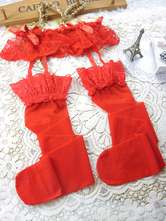 Sexy Red Bow Lace Garter Belt With Thong and Stocking