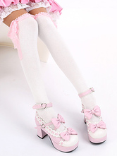 Lolitashow Sweet White Black Cotton Lolita Knee High Socks Lace Trim Bow Decor