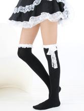 Lolitashow Sweet White Black Cotton Lolita Knee High Socks Lace Trim Bow Decor