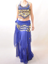 Belly Dance Costume Outfit Blue Sequined Chiffon Women's Bollywood Dance Set