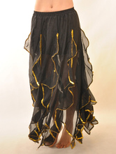 Carnevale Grazia nero Chiffon ruches attraente danza del ventre gonna lunga Halloween