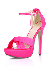 Platform High Heel Sandals Womens Imitated Silk Knot Open Toe Ankle Strap Stiletto Heels Sandals