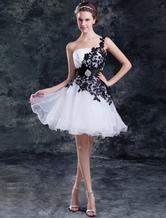 Abito da sposa bianco organza monospalla vestito da ballo corto/mini