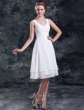 Vestidos De Novia Sencillos Vestido Blanco Corto De Novia Gasa Escalonado Fruncido Longitud De La Rodilla Vestido De Boda