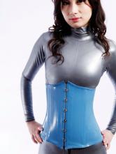 Anime Costumes AF-S2-261358 Halloween Blue Latex Corset Unique Unisex Bodysuit