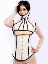 Anime Costumes AF-S2-261364 Halloween Stylish Cut Out White Unisex Latex Corset