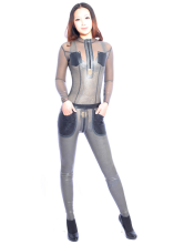 Anime Costumes AF-S2-261206 Halloween Grey Unisex Shaping Latex Catsuit