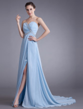 Chiffon Evening Dress Baby Blue Sweetheart Strapless Prom Dress Sexy High Split Cut Out Formal Dress With Chapel Train