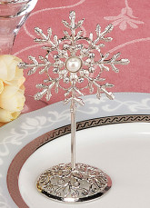 Fairytale Silver Pearls Metal Wedding Place Cards Set of 12
