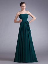 Vestido de noite elegante arco verde escuro do Chiffon Strapless feminino