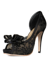 Zapatos Peep toe de cordón negro de tacón alto NQR6XoHOVK