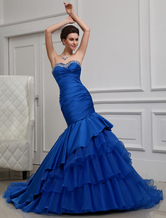Blue Evening Dress Mermaid Strapless Tiered Rhinestone Satin Dress Milanoo
