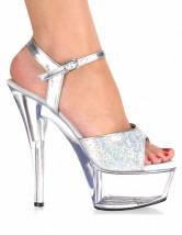 Sexy chaussures à talons aiguilles en tissuet paillettes argent avec  paillettes imprimé brillant-No.
