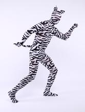 Faschingskostüm Unisex Zentai aus Elastan mit Zebra Streifen