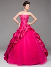 vestidos de gala de tafetán Rosa caliente con escote palabra de honor sin mangas con bordado estilo moderno