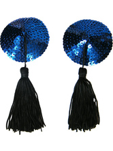 Round Blue PU Leather Fringes Sequined Woman's Pasties